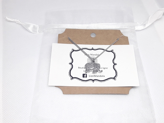 Stainless steel necklace with elephant pendant