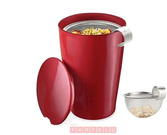 Tasse à thé rouge avec infuseur