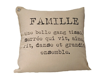 Coussin texte Famille