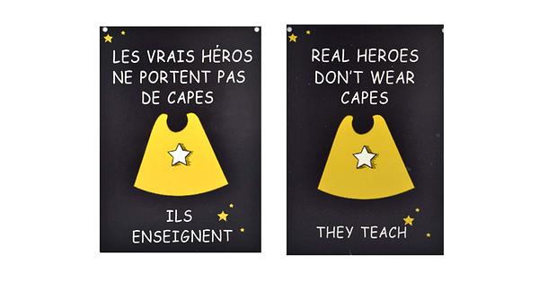 Affiche les h ros ne portent pas de capes ils enseignent for Portent translation