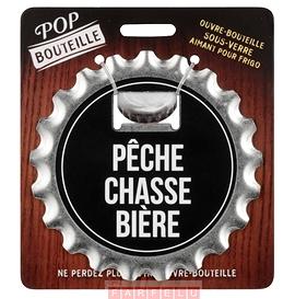 Ouvre-bouteille et sous-verre aimanté, Pêche,chasse,bière...