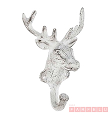 Crochet Cerf en métal blanc