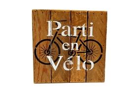 Affiche en bois, Parti En Vélo