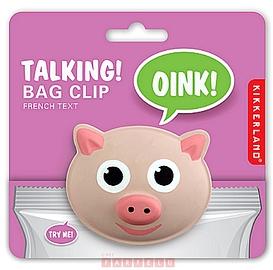 Pince à sachet parlant, cochon