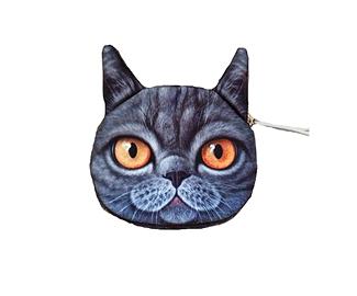 Porte-monnaie 3D Chat gris
