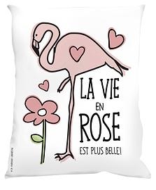 Coussin, Flamant, La vie en rose est plus belle