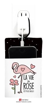 Pochette pour recharge cellulaire, Flamant, La vie en rose...