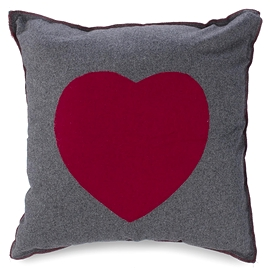 Coussin, Coeur rouge/gris