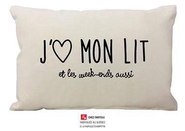Coussin J'aime mon lit Collection exclusive