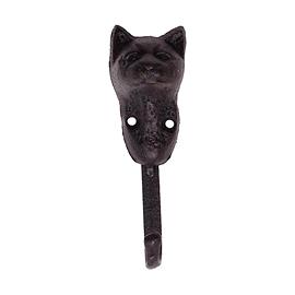 Crochet en métal chat noir