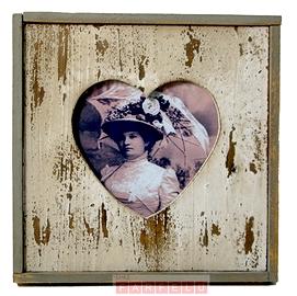 Cadre photo coeur en bois
