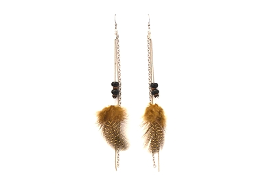 Boucles d'oreilles plumes brunes et chaine