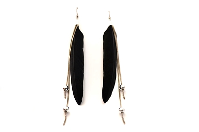 Boucles d'oreilles plumes noires longues