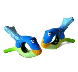 Pinces à serviette, poisson bleu