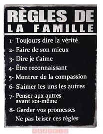 Affiche en métal Règles de la famille