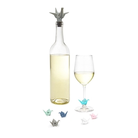 Bouchon à vin et marques verres Origami Umbra