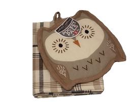 Ensemble de linge à vaisselle et gant de four Oliver le Hibou
