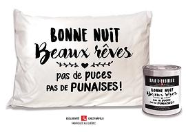 Taie d'oreiller Bonne Nuit Beaux rêves