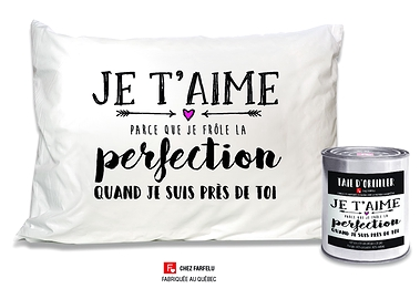 Taie d'oreiller Je t'Aime (...) Perfection