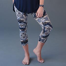 Legging mandala floral marine - longueur ¾