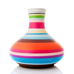 Vase rayé coloré moderne