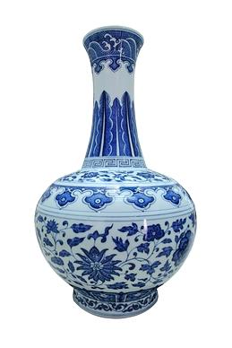 Vase Lotus bleu et blanc