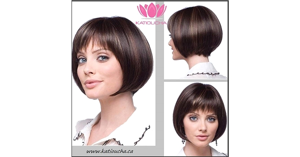 Brown With Gold Highlights Short Medium Lenght Straight