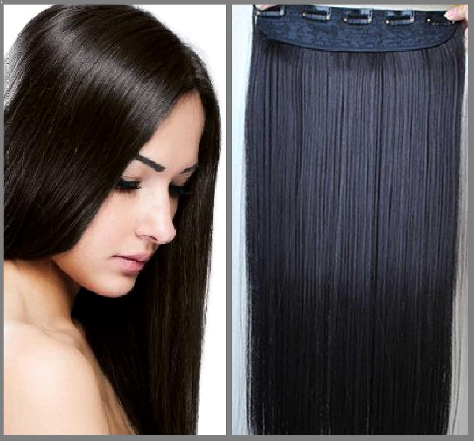 Clip In Hair Extension Straight Hair 24 60 Cm Dark Brown
