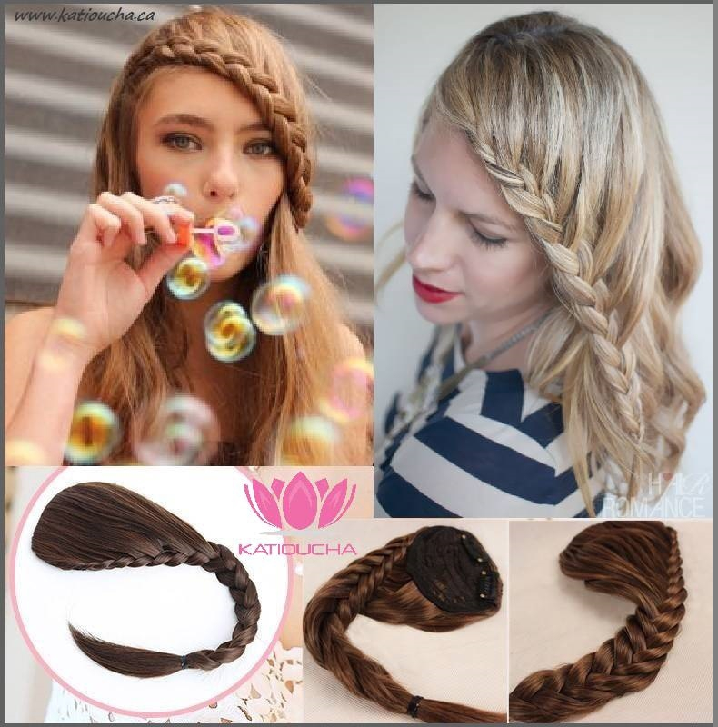 Clip In Hair Extension Braid Fringe In All Colors Black Brown Aubur