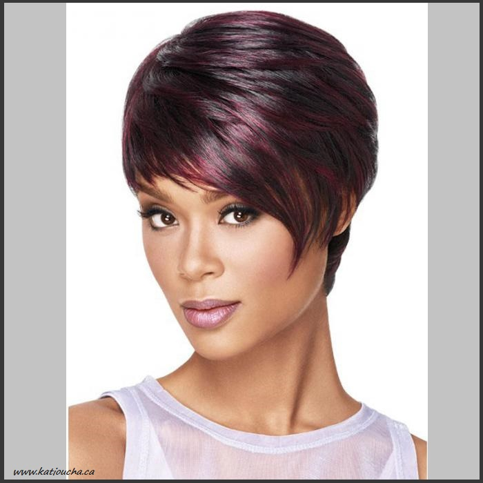 Black Short Hair With Burgundy Highlights Full Wig Codem19 231