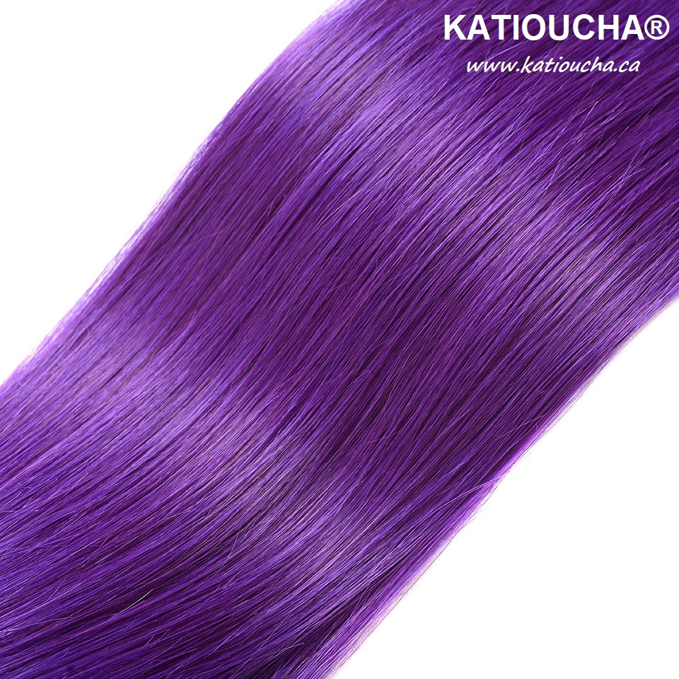 100 Remy Human Hair Extensions 8a Weft Weave Bundle T1b Purple