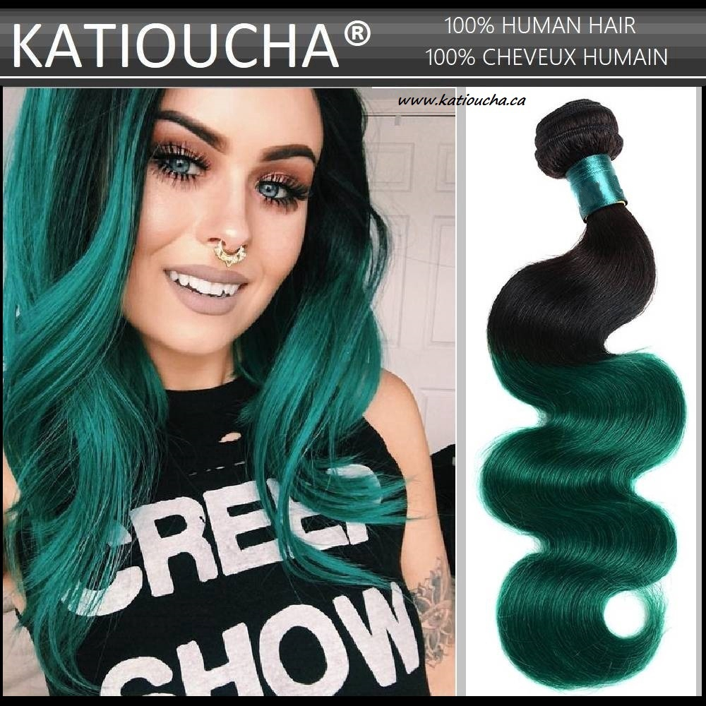 100 Remy Human Hair Extensions 8a Weft Weave Bundle T1b Green