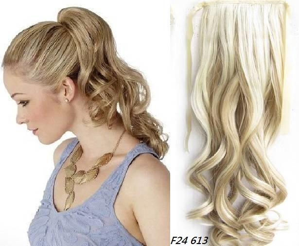 Ponytail Hair Extension Wavy Hair 55 Cm 22 In Blond Colors