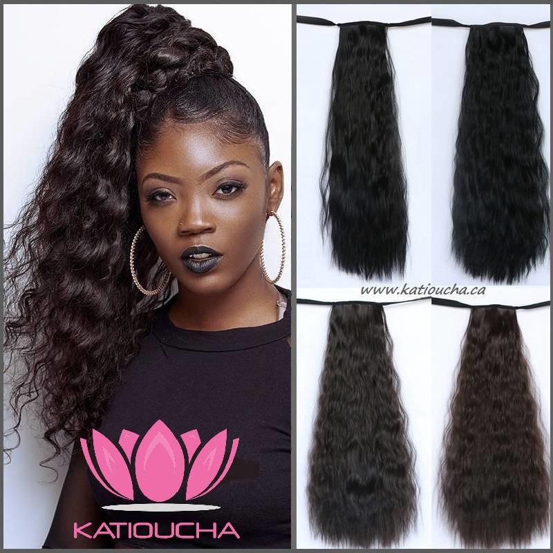 Ponytail Hair Extension Kinky Curly Hair 56 Cm 22 Black Dark B