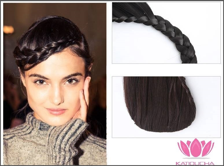 Clip in hair extension braid fringe in all colors black brown aubur clip in hair extension braid fringe in all colors jet black natural black pmusecretfo Image collections