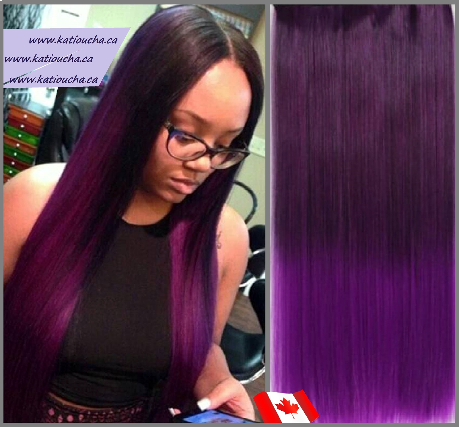 Clip In Hair Extension Straight Hair 60 Cm 24 120g Color Purple
