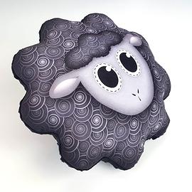 Coussin mouton noir