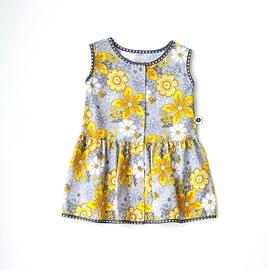 Robe d'été fleurie jaune et gris