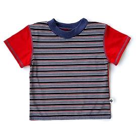 T-shirt rayé bleu-rouge