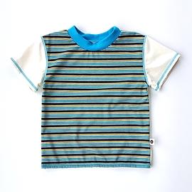T-shirt rayé aqua-jaune-crème