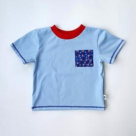 T-shirt jersey azur/poche voiliers