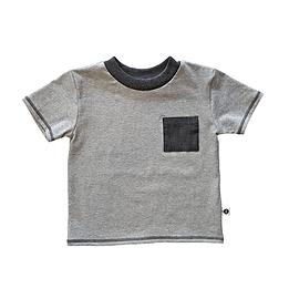 T-shirt jersey gris/poche jean's noir