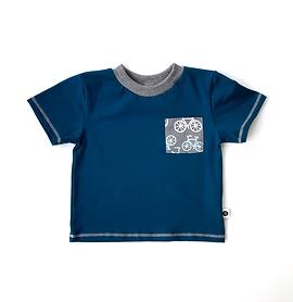 T-shirt jersey sarcelle/poche vélos