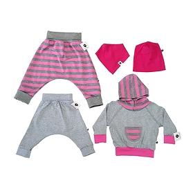 Vêtements évolutifs rose et gris/bébé petite fille