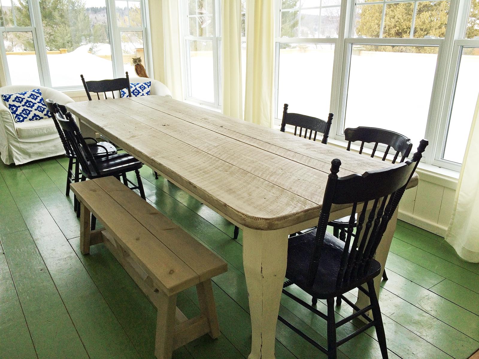 table sur mesure-salle a manger-cuisine-antique-lanaudiere - Table De Cuisine Sur Mesure
