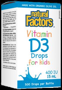 Natural Factors Vitamin D3 Drops for Kids 400 iu 15 ml