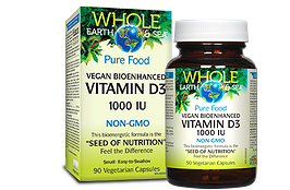 Natural Factors Whole Earth & Sea Vitamin D3 Vegan 1000 iu 90 vcaps