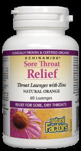 Natural Factors ECHINAMIDE Sore Throat Relief with Zinc Orange Flavour 60 lozenges