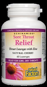 Natural Factors ECHINAMIDE Sore Throat Relief with Zinc Cherry Flavour 60 lozenges