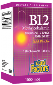 Natural Factors B12 Methylcobalamin 1000 mcg 180 sublingual tablets